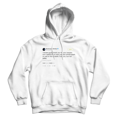 Post Malone can't believe how many wished death but not today tweet white hoodie from Tee Tweets