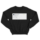 Post Malone is meatball an fruit tweet on a black crewneck sweater from Tee Tweets