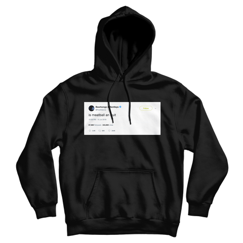 Post Malone is meatball an fruit tweet on a black hoodie from Tee Tweets