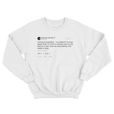 Post Malone campaign promise to stop lighter theft tweet on a white crewneck sweater from Tee Tweets