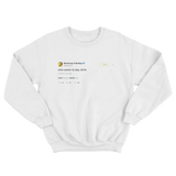 Post Malone who wants to day drink tweet on a white crewneck sweater from Tee Tweets