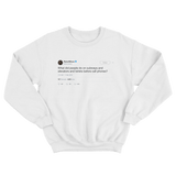 Rainn Wilson what did people do before cellphones tweet on a white crewneck sweater from Tee Tweets