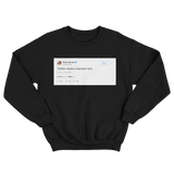 Ricky Gervais Twitter needs a sarcasm font tweet on a black crewneck sweater from Tee Tweets