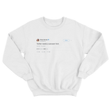 Ricky Gervais Twitter needs a sarcasm font tweet on a white crewneck sweater from Tee Tweets