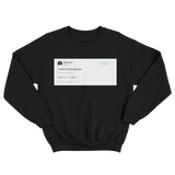 Rihanna I hate broke bitches tweet on a black crewneck sweater from Tee Tweets