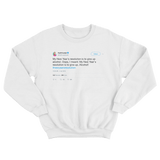 Samantha Bee New Years resolution is to give up alcohol white tweet sweater