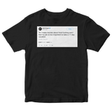 Seth Rogen not taking a 17 day vacation tweet on a black t-shirt from Tee Tweets