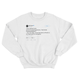 Seth Rogen nothing hurts anymore I feel free tweet on a white crewneck sweater from Tee Tweets