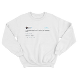 Shaquille O'Neal do I Twitter hell yeah baby tweet on a white crewneck sweater from Tee Tweets