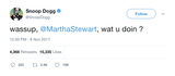 Snoop Dogg wassup Martha Stewart what you doing tweet from Tee Tweets