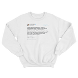 Stephen Colbert brevity is the soul of wit tweet on a white crewneck sweater from Tee Tweets