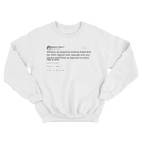 Stephen Colbert gonna need a drink tweet on a white crewneck sweater from Tee Tweets