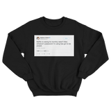 Stephen Colbert Netflix raising subscription rates tweet on a black crewneck sweater from Tee Tweets