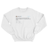 Stephen Colbert Netflix raising subscription rates tweet on a white crewneck sweater from Tee Tweets