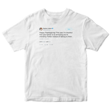 Stephen Colbert happy Thanksgiving tweet on a white t-shirt from Tee Tweets
