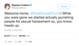 Stephen Colbert welcome home Donald Trump tweet from Tee Tweets