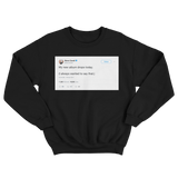 Steve Carell my new album drops today tweet on a black crewneck sweater from Tee Tweets