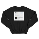 Customize and create your own Twitter tweet top on a black crewneck sweater from Tee Tweets