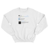Customize and create your own Twitter tweet top on a white crewneck sweater from Tee Tweets