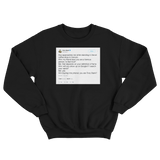 Tony Hawk getting called Tony Stark in Cancun tweet on a black crewneck sweater from Tee Tweets