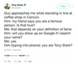 Tony Hawk getting called Tony Stark in Cancun tweet from Tee Tweets