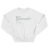 Tony Hawk gets asked why are you Tony Hawk tweet on a white crewneck sweater from Tee Tweets