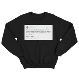 Tyler The Creator backstage pass tweet on a black crewneck sweater from Tee Tweets