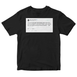 Tyler The Creator backstage pass tweet on a black t-shirt from Tee Tweets