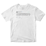 Tyler The Creator backstage pass tweet on a white t-shirt from Tee Tweets