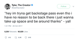 Tyler The Creator backstage pass tweet from Tee Tweets