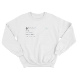 Tyler The Creator bro idk tweet on a white crewneck sweater from Tee Tweets