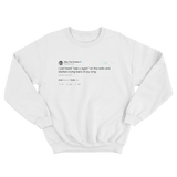Tyler the Creator heard see you again on the radio and crying tears of joy white tweet sweater