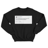 Tyler The Creator here I am with financial freedom tweet on a black crewneck sweater from Tee Tweets