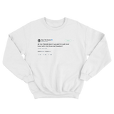 Tyler The Creator here I am with financial freedom tweet on a white crewneck sweater from Tee Tweets