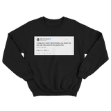 Tyler The Creator I judge but don't discriminate tweet on a black crewneck sweater from Tee Tweets