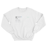 Tyler The Creator mother tweet on a white crewneck sweater from Tee Tweets