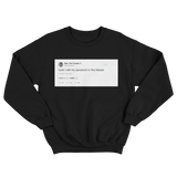 Tyler The Creator left sandwich in the freezer tweet on a black crewneck sweater from Tee Tweets