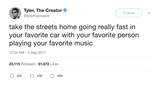 Tyler The Creator take the streets home with your favorite music tweet from Tee Tweets
