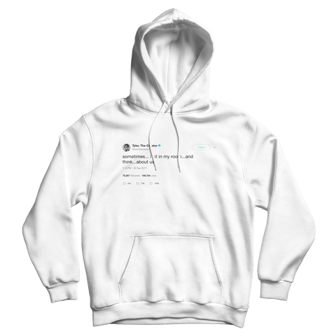 Tyler The Creator sometimes I think about us tweet on a white hoodie from Tee Tweets