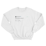 Tyler The Creator what the damn tweet on a white crewneck sweater from Tee Tweets