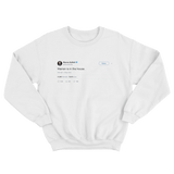 Warren Buffett Warren is in the house tweet on a white crewneck sweater from Tee Tweets