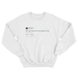 Wiz Khalifa don't get mad get rich and make them mad tweet on white crewneck sweater from Tee Tweets