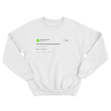 Young Thug we smoking penises tweet on a white crewneck sweater from Tee Tweets