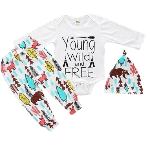 9bbfd29c286 Baby 3-Piece Young Wild and Free Set.  29.99. Gray