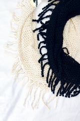 Black and white Crochet Knit Infinity Scarf