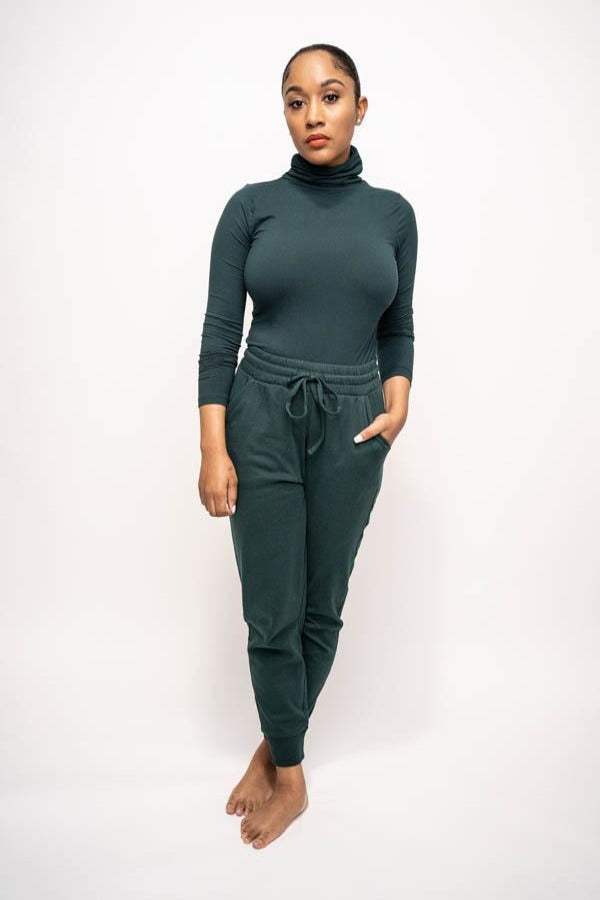 Mock Neck and Jogging Pant Two-Piece Set (Army Green)