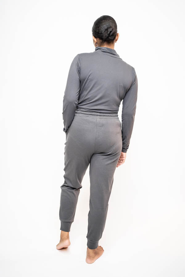 Mock Neck and Jogging Pant Two-Piece Set (Slate Gray)