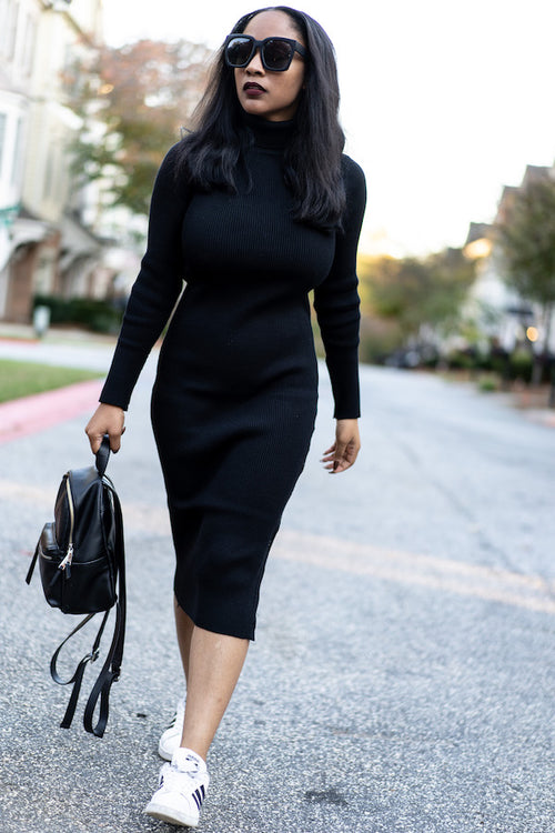 Turtleneck Ribbed Sweater Dress
