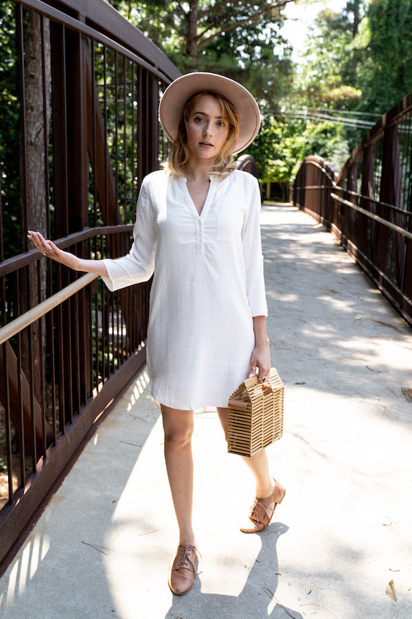 Henley Shirt Dress With Chest Pocket wearing gold trim bolero hat