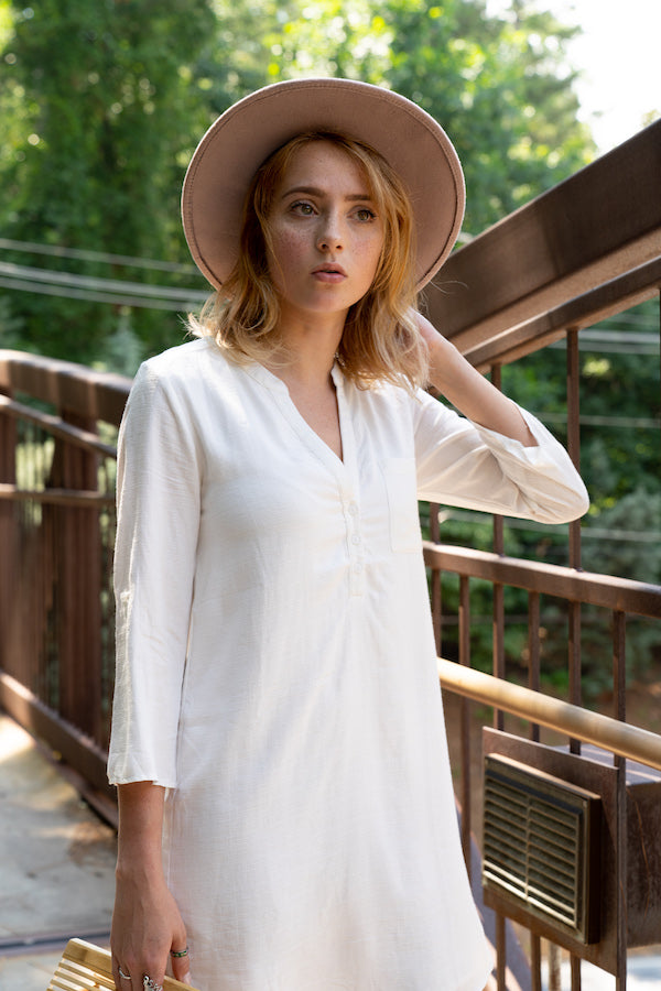 Henley Shirt Dress With Chest Pocket - BLANK Wardrobe